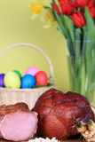 Easter ham and eggs Royalty Free Stock Image