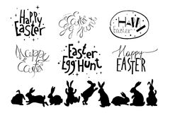 Easter hand drawn design elements Royalty Free Stock Images