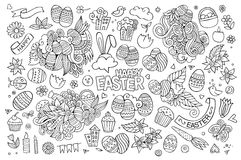 Easter hand drawn symbols and objects Royalty Free Stock Photo