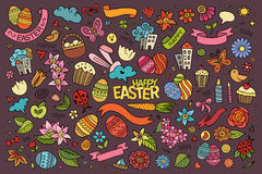Easter hand drawn symbols and objects Stock Images