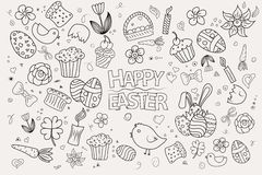 Easter hand drawn vector symbols and objects Royalty Free Stock Images