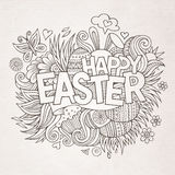 Easter hand lettering and doodles elements Stock Image