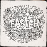 Easter hand lettering and doodles elements Stock Photo