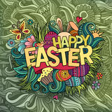 Easter hand lettering and doodles elements Royalty Free Stock Image