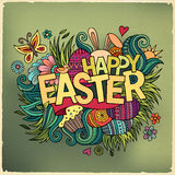 Easter hand lettering and doodles elements Stock Photography