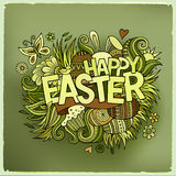 Easter hand lettering and doodles elements Royalty Free Stock Images