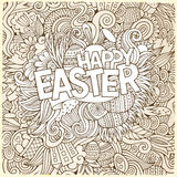Easter hand lettering and doodles elements Royalty Free Stock Photos