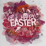 Easter hand lettering and doodles elements Stock Photos