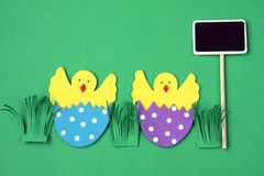 Easter hand made decorations: hatched chicken in eggshell with blackboard isolated on green background Royalty Free Stock Photos
