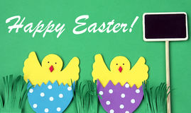 Easter hand made greeting card: hatched chicken in eggshell with blackboard isolated on green background Royalty Free Stock Image