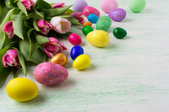 Easter hand painted eggs background Stock Images