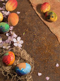 Easter hand-painted eggs and fringed jute canvas,almond blossom and petals,arranged on rusty rustic texture. Stock Photo