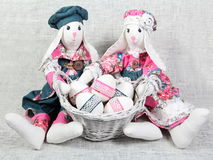 Easter Handmade Bunnies with Decorated Eggs Royalty Free Stock Images