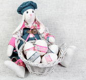 Easter Handmade Bunny with Decorated Eggs Stock Image