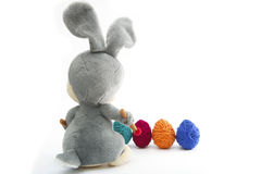 Easter Handmade Bunny with Eggs in Basket Royalty Free Stock Images