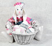 Easter Handmade Bunny with Eggs in Basket Stock Images