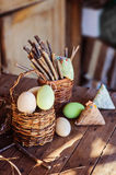 Easter handmade decorations in country house Royalty Free Stock Photo