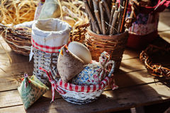 Easter handmade decorations in country house Royalty Free Stock Image