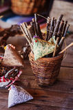 Easter handmade decorations in country house Stock Images