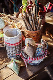 Easter handmade decorations in country house Stock Photo