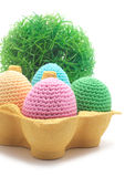 Easter handmade eggs with grass. Royalty Free Stock Photo