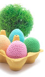 Easter handmade eggs with grass. Stock Photos