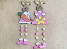 Easter hanging  rabbits Royalty Free Stock Photo