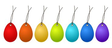 7 Easter Hangtags Eggs Colorful on White, stock vector illustrat. Ion, eps 10 Stock Photo