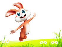 Easter happy bunny with jump Royalty Free Stock Photos