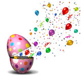 Easter Happy Celebration. Party concept as an open easter egg with balloons and festive confetti flying out of the holiday symbol Royalty Free Stock Photography