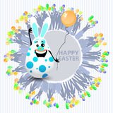 Easter is a happy egg with a balloon Royalty Free Stock Photo