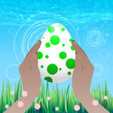 Easter is happy. Egg in peas in hands vector illustration
