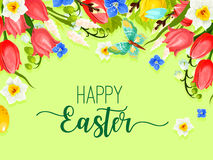 Easter happy holiday greeting card vector flowers Stock Image