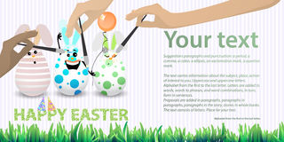 Easter happy three eggs funny with air balloon brush hands Royalty Free Stock Image