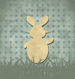 Easter happy vintage poster with rabbit and grass Stock Image