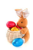 Easter hare with eggs Stock Photo