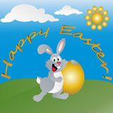 Easter hare with a gold small egg on a solar green lawn. stock illustration