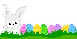 Easter header / banner. Cute white easter bunny with colorful easter eggs Header / banner Stock Photos