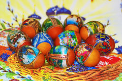 Easter. Heap of easter egg on fabric Stock Images