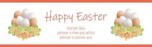 Easter heap of eggs in flowers banner horizontal. Vector vector illustration