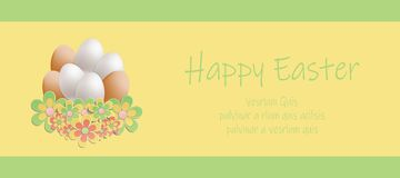 Easter heap of eggs in flowers card. Vector vector illustration