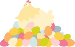 Easter Hen With Eggs Royalty Free Stock Images