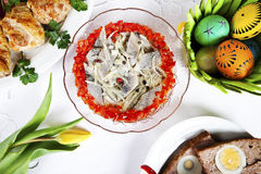 Easter herring in oil with decorations Stock Photography