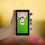 Easter. Hold your hand a smart phone. Illustration Stock Image