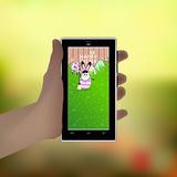 Easter. Hold your hand a smart phone. Illustration Stock Photo