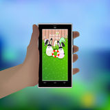 Easter. Hold your hand a smart phone. Illustration Stock Photos