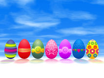 Easter - holiday. Easter - eggs and sky - illustration Royalty Free Stock Image