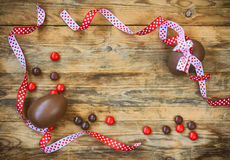 Easter holiday background with chocolate eggs Royalty Free Stock Photo