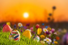 Easter holiday background with copy space stock images