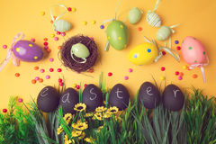 Easter holiday background with decorations and ornament Stock Photography